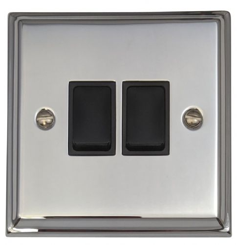 G&H DC2B Deco Plate Polished Chrome 2 Gang 1 or 2 Way Rocker Light Switch
